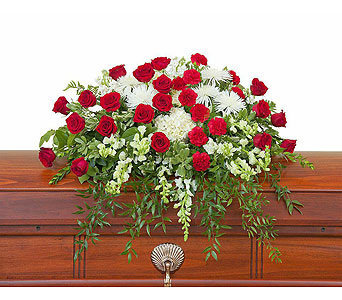 Enduring Strength Casket Spray in Mount Morris MI, June's Floral Company & Fruit Bouquets