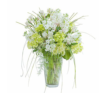 White Elegance Vase in Oshkosh WI, Flowers & Leaves LLC