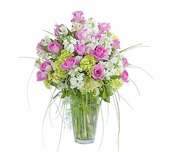 Pink and White Elegance Vase in Kingwood TX, Flowers of Kingwood, Inc.