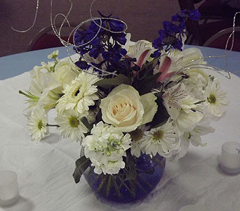 Blue and White Bubble Bowl in Manhasset NY, Town & Country Flowers