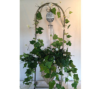 Planter with Windchime in Crafton PA, Sisters Floral Designs