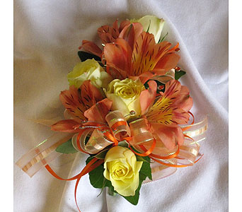 BGHF Orange & Yellow Corsage in Hales Corners WI, Barb's Green House Florist