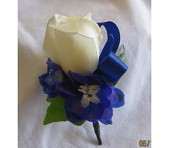 Blue and white rose bout in Hales Corners WI, Barb's Green House Florist