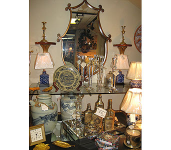 Glass Tray, Crystal Candle Sticks, Antique Bottles, Lamps, Candles under Glass Dome in Blue Bell PA, Country Flower Shoppe