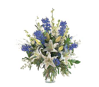Elegant White & Blue Vase in New York NY, CitiFloral Inc.