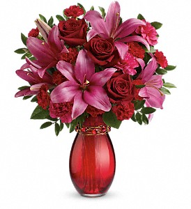Teleflora's Crimson Kisses Bouquet in The Woodlands TX, Rainforest Flowers