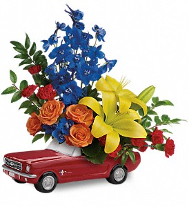 Living The Dream '65 Ford Mustang by Teleflora in Gonzales LA, Ratcliff's Florist, Inc.