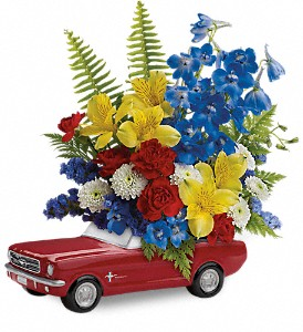 Teleflora's '65 Ford Mustang Bouquet in Patchogue NY, Mayer's Flower Cottage