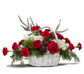 Holiday Basket Bouquet in Bennington VT, The Gift Garden