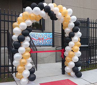 Black, White, & Gold Balloon Arch in Somerset NJ, Flower Station