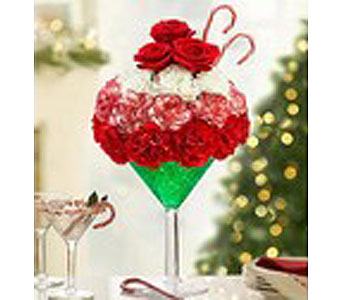 Christmas Martini Arrangement in Guelph ON, Patti's Flower Boutique