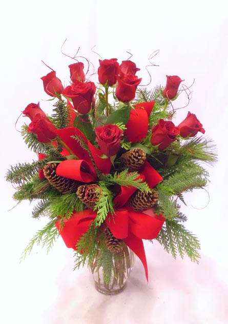 Deluxe Dozen Holiday Roses in Las Vegas NV, A French Bouquet