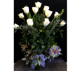 A dozen long stem white roses in Wellington FL, Wellington Florist