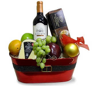 Christmas Wine, Cheese & Fruit in Fort Worth TX, TCU Florist