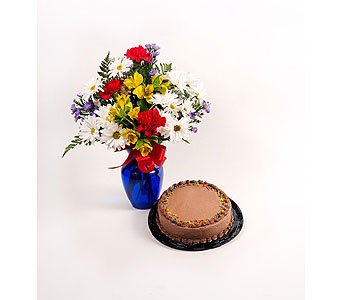 Birthday Vase and Cake in Timmins ON, Timmins Flower Shop Inc.