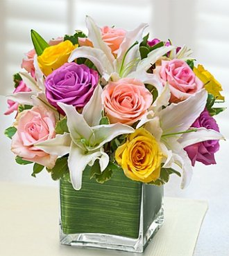 Pastel rose and Lily Cube in Princeton NJ, Perna's Plant and Flower Shop, Inc