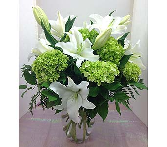 White Lilies and Green Hydrangea in Manhasset NY, Town & Country Flowers
