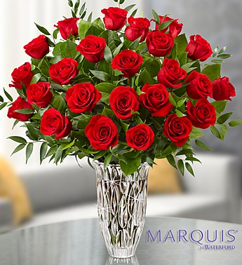 Red roses in crystal vase in Princeton NJ, Perna's Plant and Flower Shop, Inc