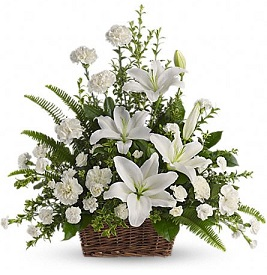 Peaceful White Lilies Basket in Perrysburg & Toledo OH  OH, Ken's Flower Shops