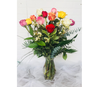 12 Assorted Roses in Redwood City CA, Redwood City Florist