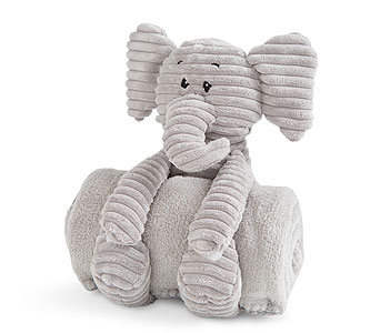 Plush Elephant with Rolled Blanket in Detroit and St. Clair Shores MI, Conner Park Florist