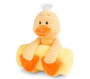 Plush Duck with Rolled Blanket in Detroit and St. Clair Shores MI, Conner Park Florist