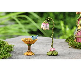 Miniature Garden Fairytale Birdbath & Tulip Lamp in Guelph ON, Patti's Flower Boutique