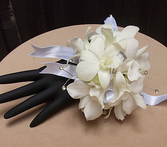 White Dendro Orchid Sparkle Wrist Corsage in West Los Angeles CA, Westwood Flower Garden