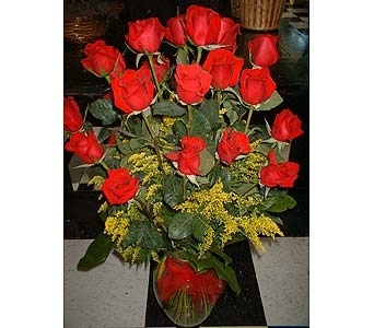 24 Red Roses with solidago - Big and Showy!!! in Dallas TX, Z's Florist