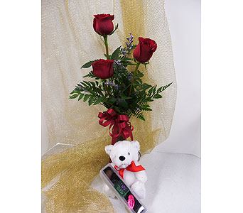 Rose 3 for 1 Budvase Bouquet in Geneva NY, Don's Own Flower Shop