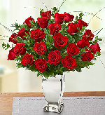 Premium Long Stem Red Roses in Silver Vase in Round Rock TX, Heart & Home Flowers