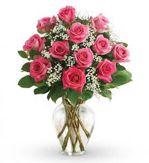 Dozen Pink Roses Vased in Lower Sackville NS, 4 Seasons Florist