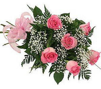 6 Pink Roses in Madison ME, Country Greenery Florist & Formal Wear