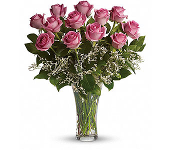 Make Me Blush - Dozen Long Stemmed Pink Roses in Alliston, New Tecumseth ON, Bern's Flowers & Gifts