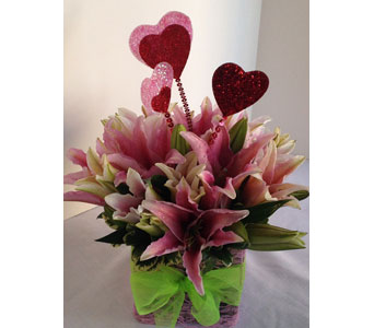 Lilies and Lace - with hearts in Crafton PA, Sisters Floral Designs