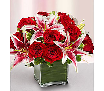 Modern Embrace� Red Rose and Lily Cube in Grand Rapids MI, Rose Bowl Floral & Gifts