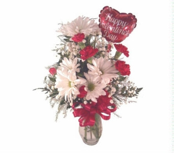 Valentine Vase Arramgement With 4 Inch Balloon in Yakima WA, The Blossom Shop