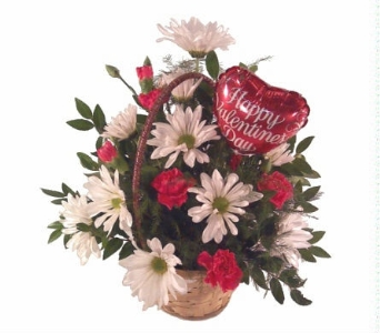 Valentine Basket Arrangement in Yakima WA, The Blossom Shop
