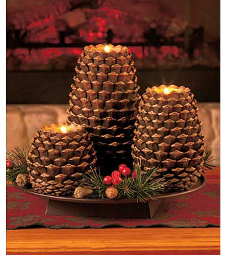 Set of 3 Pinecone Candleholders in Loudonville OH, Four Seasons Flowers & Gifts
