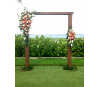 Arbor with Hanging Crystals and Flowers in Stuart FL, Harbour Bay Florist