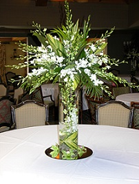 Cylinder with Green and White Orchids in Stuart FL, Harbour Bay Florist