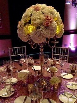 Candelabra with Hydrangea and Rose Topper in Stuart FL, Harbour Bay Florist
