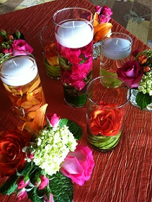 Cylinders with Roses, Orchids and Floating Candles in Stuart FL, Harbour Bay Florist