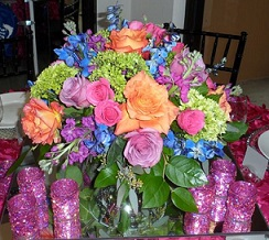 Assorted Bright Roses and Hydrangea Centerpiece in Stuart FL, Harbour Bay Florist