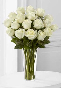 18 Long Stem White Roses in Fond Du Lac WI, Haentze Floral Co