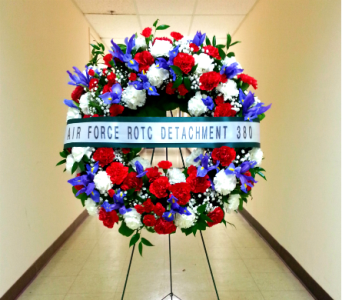 24 INCH PATRIOTIC WREATH WITH IRISES AND BANNER in Arlington VA, Twin Towers Florist
