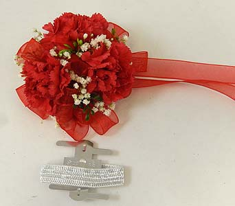Wrist Corsage of Red Mini Carnations in Bloomington IL, Forget Me Not Flowers