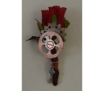 ''Steam Punk'' Rose Boutonniere in Bloomington IL, Forget Me Not Flowers