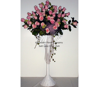 Huddart Pink Roses on White Stand in Salt Lake City UT, Huddart Floral