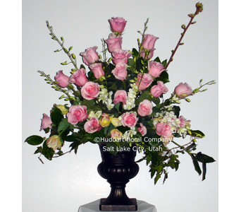 Huddart Pink Pedestal Arrangement in Salt Lake City UT, Huddart Floral